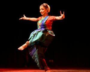 Padmashri Leela Samson performs at Sophia College's platinum jubilee ceremony on Monday.