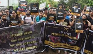 Gorkha Janamukti Morcha supporters hold a protest rally in Mumbai in support of a separate Gorkhaland state.