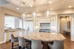 Furnished kitchen in a luxury home.