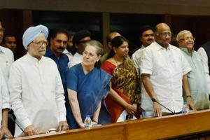 Congress president Sonia Gandhi with former PM Manmohan Singh, NCP chief Sharad Pawar, RJD supremo Lalu Prasad and other leaders at a meeting to select their presidential nominee, in New Delhi on Thursday. Former Lok Sabha Speaker Meira Kumar was announced as their candidate for upcoming presidential poll.