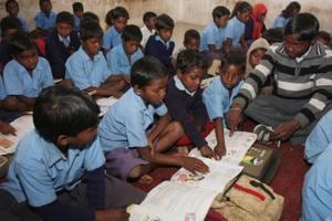 Rural students at a village primary school near Ranchi
