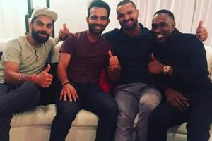 India vs West Indies: Virat Kohli, MS Dhoni visit Dwayne Bravo's home...