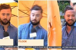 Video: Weatherman 'blown away' during live broadcast, fellow...