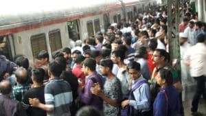 The crowded Thane station.