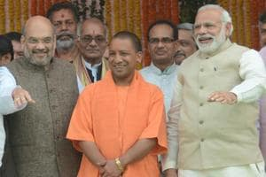 Yogi Adityanath sworn in as Uttar Pradesh chief minister at in Lucknow,  on March 19, 2017 with Prime Minister Narendra Modi and BJP chief Amit Shah present on the occasion.