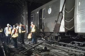 New York subway train derailment in Harlem leaves 36 injured