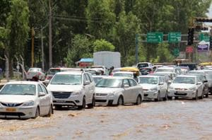 The Baltana intersection on the Zirakpur­Kalka highway gets flooded even after a slight shower.