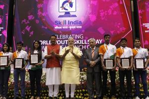 Prime Minister Narendra Modi and Rajiv Pratap Rudy, minister of state for skill development and entrepreneurship, at the launch of the National Skill Development Mission in Delhi in July 2015. Skill development is one of the top priorities of the NDA government.