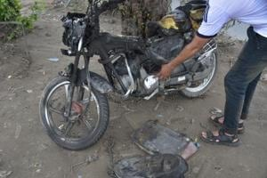Bike hit by speeding truck catches fire in Ghaziabad, rider critical