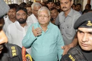 RJD president Lalu Prasad at a special CBI court in connection with a fodder scam case in Ranchi on Thursday.