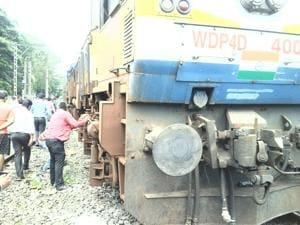 The derailed engine.