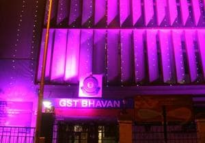 The Central Excise Office, now renamed GST Bhavan, is lit up ahead of the midnight rollout of the new tax regime.