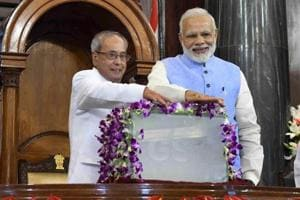 President Pranab Mukherjee and Prime Minister Narendra Modi launch the Goods and Services Tax (GST) at a special function in Parliament's central hall, New Delhi.