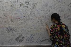 Kota's Radha Krishan Temple has messages written all over its walls by students seeking divine help.