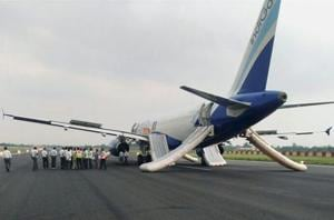 The Delhi-bound Indigo flight parked at the runway after smoke was observed in its cabin while taking-off at Jay Prakash Narayan International Airport in Patna on June 30.
