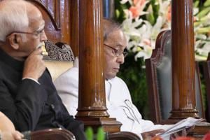 President Pranab Mukherjee and Vice President Hamid Ansari at the special ceremony in the Central Hall of Parliament for the launch of the Goods and Services Tax (GST), in New Delhi, on July 1.