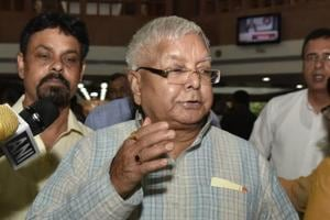RJD Leader Lalu Prasad during an opposition party meeting at Parliament House Library in New Delhi, India, on June 22, 2017.