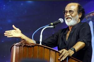 File photo of Rajinikanth addressing fans at an event at Raghavendra Kalyana Mandapam in Chennai.