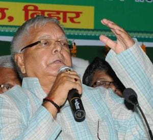 RJD chief Lalu Prasad speaking at foundation day function of his party in Patna on Wednesday.