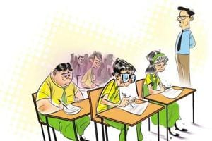 Of 52 exam takers, a majority of the students scored above 40 of the exam's 45 points.