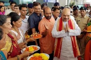 BJP president Amit Shah being welcomed after arriving at Dabolim airport in Goa on Saturday.