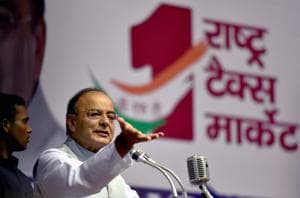 Finance Minister Arun Jaitley gives an address on the Goods and Services Tax at a function organised in New Delhi recently.