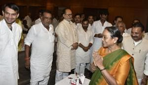 Opposition presidential candidate Meira Kumar meeting RJD and Congress leaders in Patna on Thursday.
