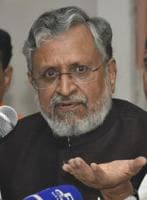 BJP leader Sushil Modi speaking at a press conference in Patna on Thursday.