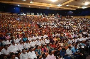 On Thursday, thousands of villagers belonging to the Agri, Koli and Kunbi community gathered at Savirtribai Phule auditorium in Dombivli to find a solution to the Nevali land row.