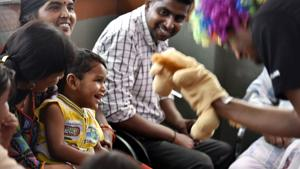 'Clownselors' use mime, drama and toys to engage paediatric parents at the Chacha Nehru children's hospital (CNBC) in New Delhi.