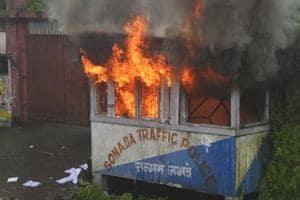 A police point set ablaze by Gorkhaland supporters in Sonada near Darjeeling on Saturday, July 8, as fresh violence erupted in Darjeeling.