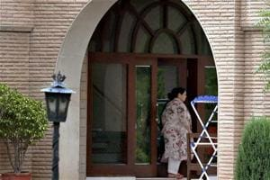 Misa Bharti outside her farmhouse in Ghitorni during a raid conducted by the Enforcement Directorate (ED) officials, in New Delhi on Saturday.