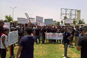 Residents protested on Sunday.