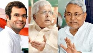 The CBI raids on Lalu Prasad (centre) attracted Congress support for him, as CM Nitish Kumar remained silent.