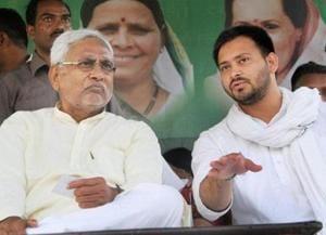 Bihar chief minister Nitish Kumar with his deputy Tejashwi Prasad Yadav, younger son of RJD chief Lalu Prasad.