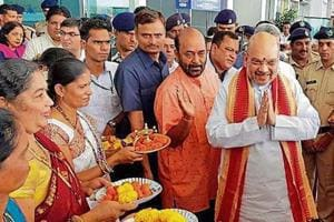 Amit Shah  at the Dabolim airport in Goa .