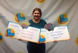 Rosa Dominguez after receiving her cheques.
