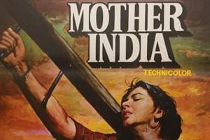 A poster of Hindi language epic drama film, Mother India, that released in 1957.