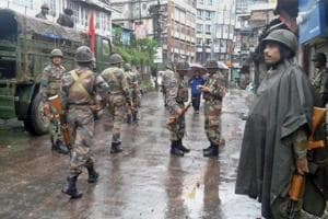 Army deployed in Darjeeling town on Sunday before the funeral procession of two persons who died in police firing.