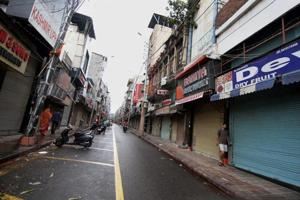 A deserted street in Jammu after various organisations gave a bandh call on Tuesday against the killings of seven Amarnath yatris in Anantnag on Monday.