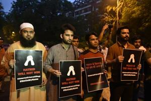 People gathered at Jantar Mantar on Tuesday to condemn the killing of seven Amarnath pilgrims.