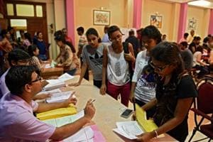 FYJC aspirants at KC college in Mumbai.