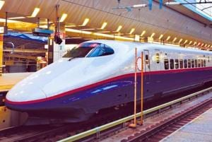 A bullet train in Japan.  The upcoming high-speed rail training centre will have modules to enable testing of bullet trains.