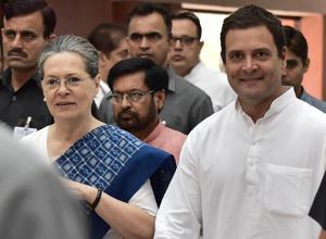Congress president Sonia Gandhi with party vice-president Rahul Gandhi