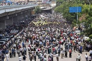 Traders take out a protest rally against the Goods and Services Tax in Surat.