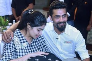 Ravindra Jadeja with wife Reeva Solanki and their new born baby during an event in Mumbai on Wednesday.