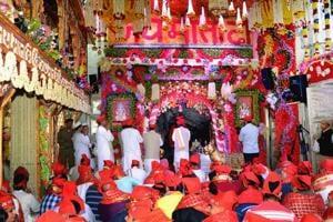 A view of the holy cave at Shri Mata Vaishno Devi Shrine.