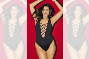 Half-American half-Punjabi model, Liza Golden-Bhijwani proudly flaunts her plus-size today; Make-up and hair by Cassandra Kehren; Liza Golden-Bhojwani wears a one-piece swimsuit from Elizabeth Jane Swimwear