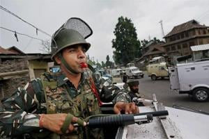 Security personnel keep vigil at the site of the recent militant attack on Amarnath Yatris, in which seven pilgrims were killed and 19 others injured, at Batango in Anantnag district.