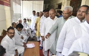 Bihar MLAs queue up to vote in the Presidential poll, on the assembly premises in Patna on Monday.